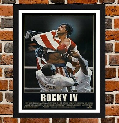 FRAMED ROCKY IV Stallone Movie / Film Poster A4 / A3 Size In Black ...