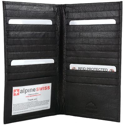 Alpine Swiss Mens RFID Blocking Deluxe Credit Card Case Wallet Leather Secretary