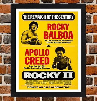 Framed Rocky II Balboa Vs Creed Movie Poster A4 / A3 Size In Black / White Frame