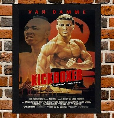 Framed Kickboxer Van Damme Movie Poster A4 / A3 Size In Black / White Frame