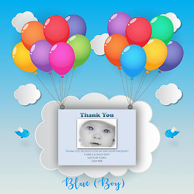 Kids Thank You Cards | Personalised Childrens Pink / Blue Photo Party Gift Notes