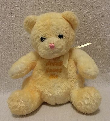 Plush Princess Soft Toys Yellow Sitting Teddy Bear Jesus Loves Me
