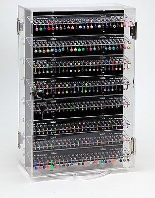 Body Jewelry Display Case Retail Cabinet Lock w/500+ pieces 360 Rotating Acrylic