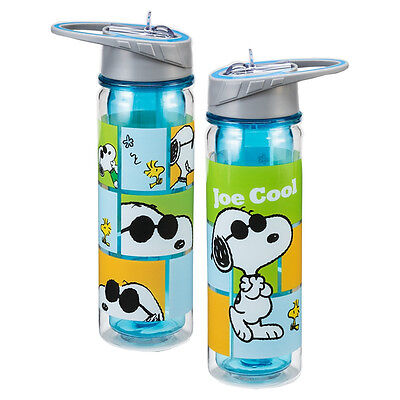Peanuts Snoopy as Joe Cool 18 oz. Double Wall Tritan Water Bottle, NEW UNUSED
