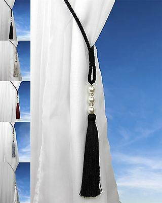 Royal Pearl Beaded Cord Curtain Tie Back Voile Hold Backs