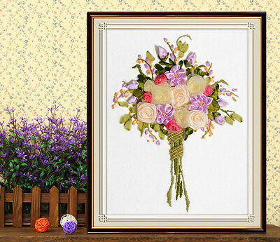 Ribbon Embroidery Kit Bouquet Bunch of Flowers Needlework Craft Kit RE3069