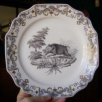 """Handsome Mottahedeh """"du Paquier"""" Dinner Plate With Boar Motif"""