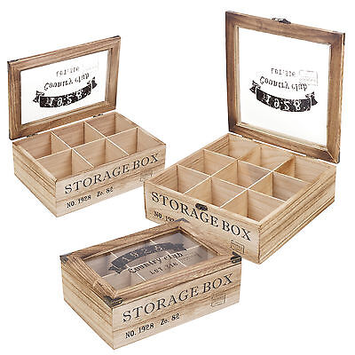 Wooden Tea Box 6 Or 9 Section Compartments Glass Lid Multi Storage Spice Chest