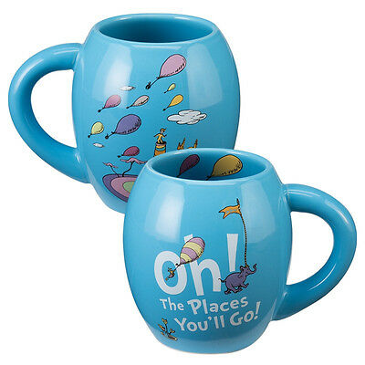 Dr. Seuss Oh The Places You'll Go 18 ounce Oval Ceramic Mug, NEW UNUSED
