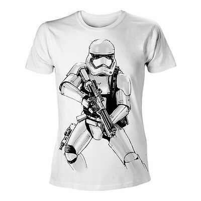 STAR WARS VII Force Awakens Adult Male Armed Stormtrooper Sketch T-Shirt S White