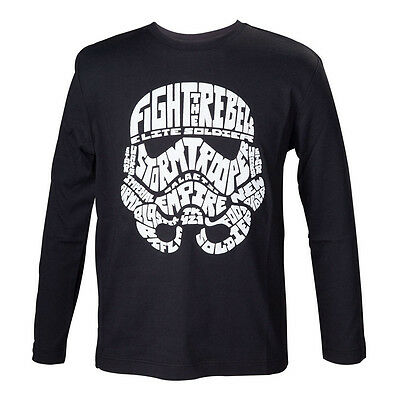 STAR WARS Kids Unisex Stormtrooper Word Play Long Sleeved T-Shirt, 134/140 Black