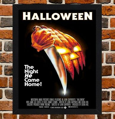 Framed Halloween Movie Poster A4 / A3 Size Mounted In Black / White Frame