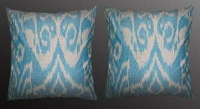 2 Uzbek Silk Ikat Fabric Pillow Cases Orient 7070