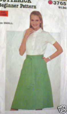 Vintage Butterick SEWING Pattern Skirt 8 10 Small 3765