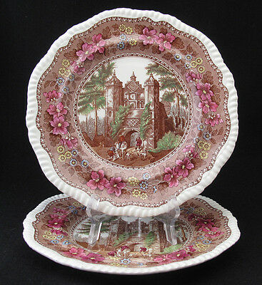 Antique Spode Delft Dinner Plate Herstmonceux set of two with crazing