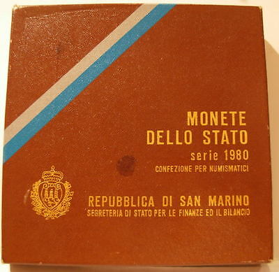 San Marino 1980 Full 9 Coin Mint Set with Silver 100 Lire Sealed BU