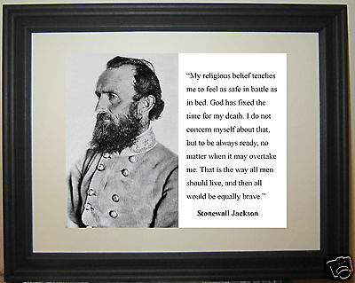 "Stonewall Jackson General Civil War ""belief"" Quote Framed Photo Photograph"
