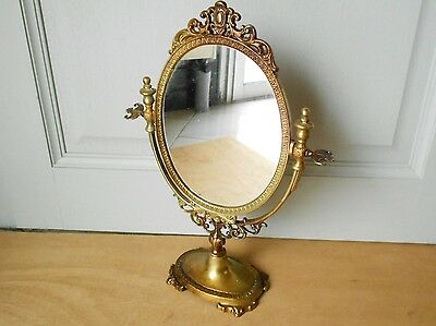 Vintage French solid Brass Lady Mirror