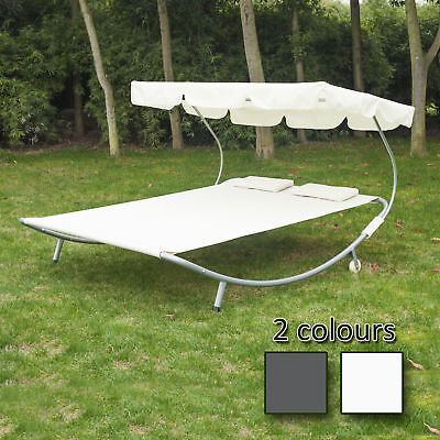 Double Hammock Swing Garden Outdoor Frame Sun Lounger Bed Beds Canopy w/ Pillows