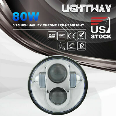 "Black 5-3/4"" 5.75 inch LED Projector Headlight Daymaker for Harley Davidson Dyna"