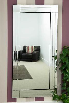 Large Silver Triple Bevelled Edge Venetian Wall Mirror 5Ft9 X 2Ft9 174cm X 85cm