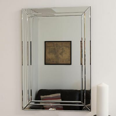Large Modern Venetian All Glass Double Edged Wall Mirror 2Ft X 3Ft (60cm X 90cm)