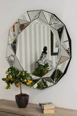 Large Wall Mirror Modern Silver Round Venetian 3Ft, (90cm)