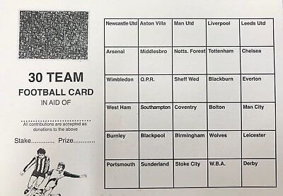 100 x 30 TEAM FOOTBALL FUNDRAISING SCRATCH CARDS GREAT QUALITY
