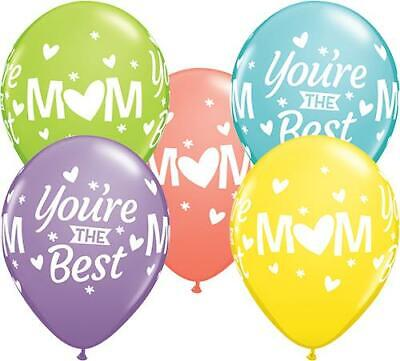 """20 x Mum/Mom You're The Best Sorbet Assorted 11"""" Qualatex Latex Balloons"""