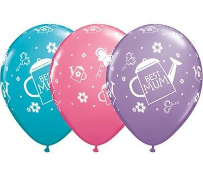 """20 x Best Mum Watering Can Assorted 11"""" Qualatex Latex Balloons"""