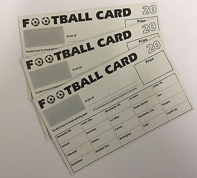 50 x 20 TEAM FOOTBALL FUNDRAISING SCRATCH CARDS GREAT QUALITY