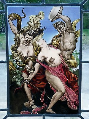 "LEADED GLASS WINDOW Image Painting Motif The Antique "" Amazons in Combat """
