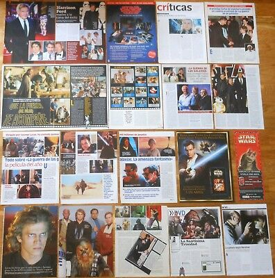 STAR WARS spanish clippings 1990s/2010s Harrison Ford Carrie Fisher magazine