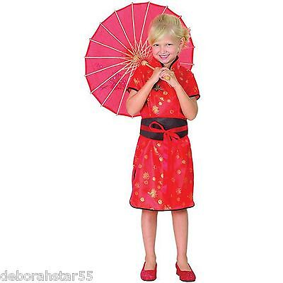 Girls Kids Chinese China Girl Oriential Book Day Fancy Dress Costume Parasol