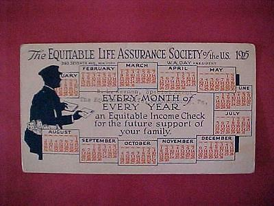 Antique 1925 Calendar The Equitable Life Assurance Society / Postcard Size