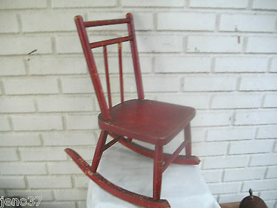 Great Antique Wooden Rocking Chair  Good Size for Doll or Bear! Original Paint!