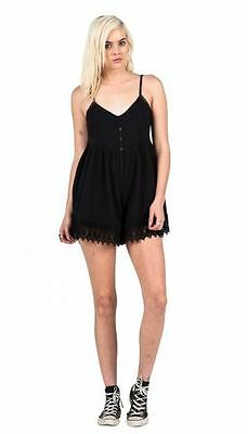 1966708b2be 2016 NWT WOMENS VOLCOM PINNED ROMPER  55 S black comfy fit cami straps  crochet