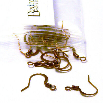 20 Antique Copper Flat Fishhook Hook Earring Findings With Coil & Open Loop Ring
