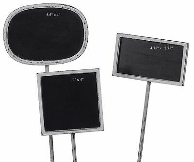 White Washed Wood Chalkboard Garden Stake Wedding Home Signs Set/3 NEW H4090-WW