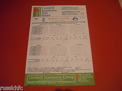 1985 Cricket Scorecard England V Australia @ The Oval 6Th Test