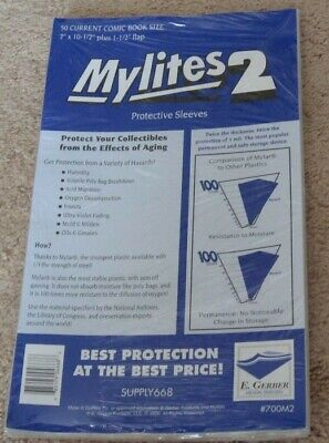 100 E Gerber Mylites 2 Current Comic Book Mylar Bags + Half Back backer boards