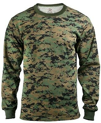 t-shirt camo woodland digital camouflage long sleeve mens rothco 5494