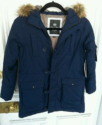 NWT HORZE MAX $159 KIDS 8 Winter Parka Riding Jacket Removable Hood Navy Blue