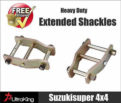 Pair Toyota Hilux KUN26 Extended Shackles Greasable IFS with Leaf Spring Rear