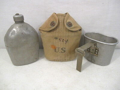 WWI Era US Army M1910 Dismounted Canteen, Cup & Rear Seam Cover - Dated 1918