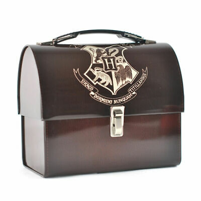 Harry Potter Hogwarts Crest Domed Tin Tote Lunch Box Caddy Metal Storage Wizard