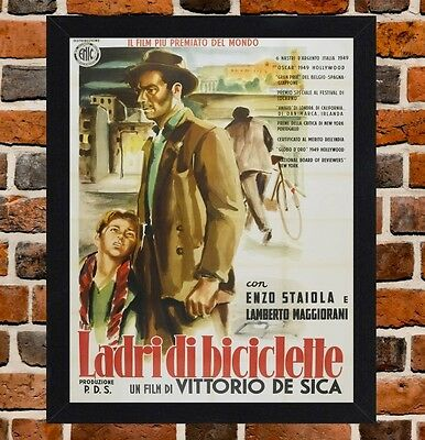 Framed The Bicycle Thief Italian Movie Poster A4/A3 Size In Black/White Frame