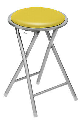 Clearance Round Folding Kitchen Breakfast Bar Stool Chair Silver Frame Pub Seat