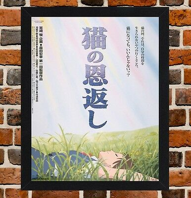 Framed The Cat Returns Japanese Movie Poster A4 / A3 Size In Black/White Frame