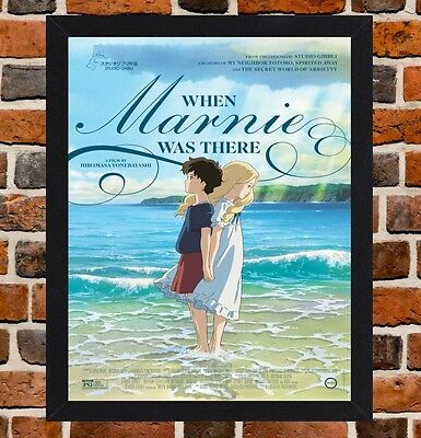 Framed When Marnie Was There Movie Poster A4 / A3 Size In Black / White Frame